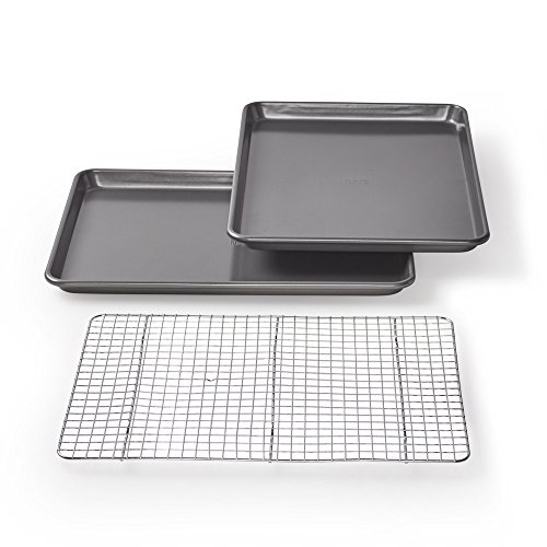 Non Stick Aluminum Baking Sheet - Chicago Metallic Professional Non-Stick Cookie/Jelly-Roll Pan Set with Cooling Rack, 17-Inch-by-12.25-Inch