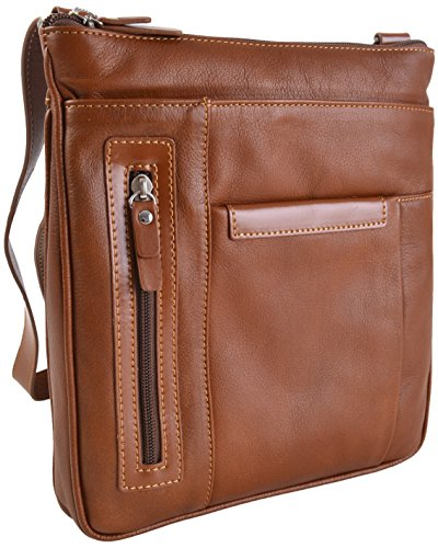 GIANNI CONTI ITALIANA FINE PELLE MEDIO TOP ZIP a tracolla borsa in 3 COLORI 583644 Tan