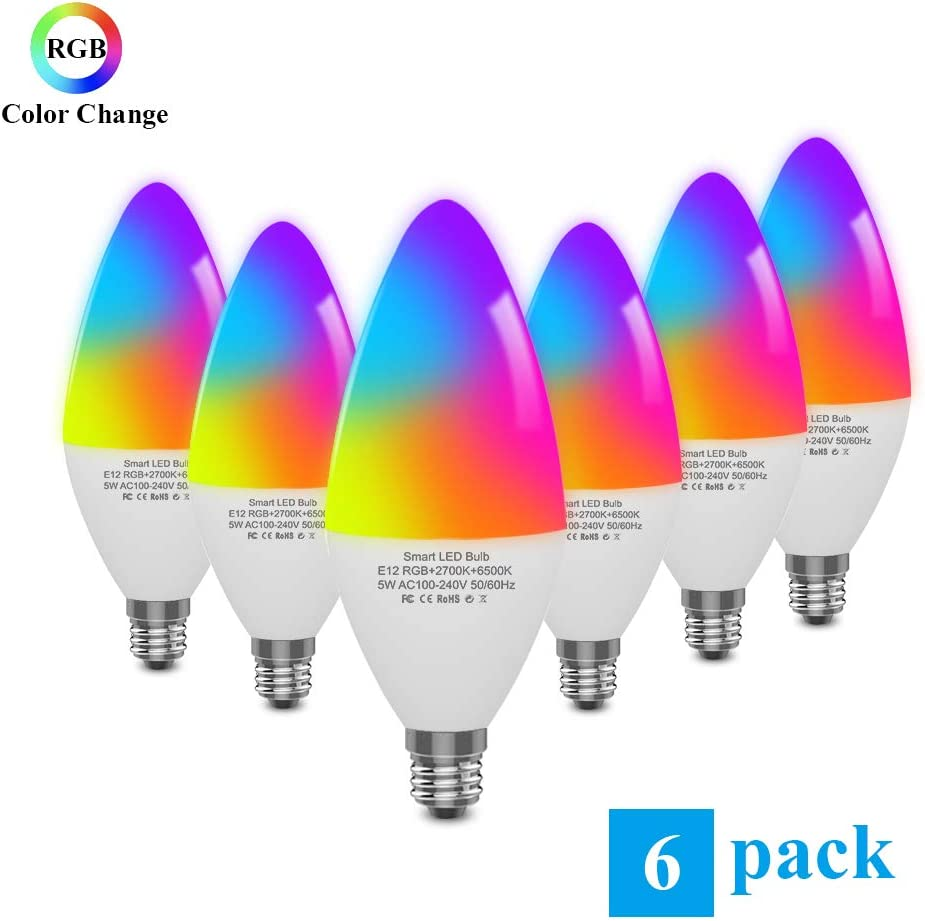 DOGAIN Smart Light Bulbs E12 Base LED Light Bulb Color changing Wifi Lights Compatible with Alexa Google Home Tunable White Candelabra Bulbs 320 lm 35w Equivalent 6 Pack