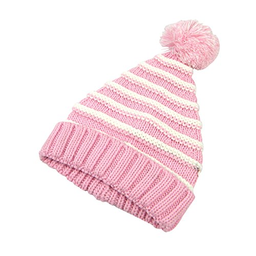 (Tinksky Classic Warm Adorable Kids Striped Knit Winter Pom Pom Hat Beanie Hats for Christmas - S (Pink White))