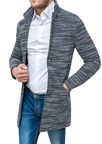 Invernale Tweed Soprabito Grigio Elegante Fit Sartoriale Uomo Nero Cappotto Slim 1HqSx