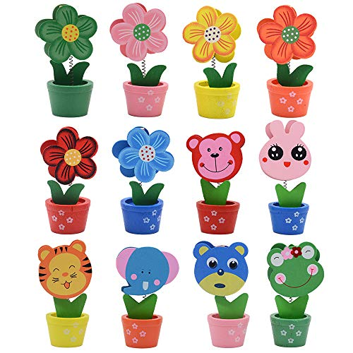 whatUneed Creative Wooden Base Photo Holder - Cartoon Animal Flower Pot Table Name Number Holder Party Decoration Card Holders Picture Memo Note Photo Clip Holder (12 Pack) 12 Flower Name Card