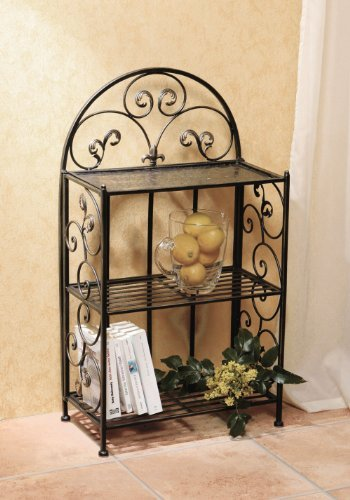 Metal Shelf- Decorative 32* Metal Shelf With Wrought Iron Motif, Folding Shelf Product SKU: HD229388