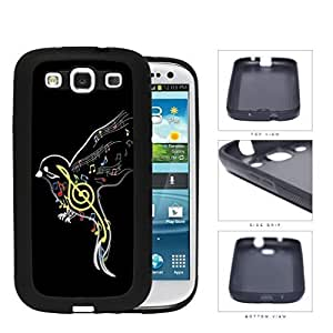Cute Black Colorful Outline Music Notes Bird Silicone Cell Phone Case Samsung Galaxy S3 SIII I9300