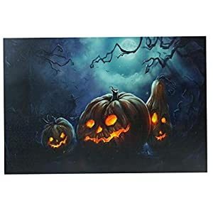 Northlight LED Lighted Spooky Halloween Jack-O-Lanterns Canvas Wall Art, 15.75″ x 23.5″, Orange