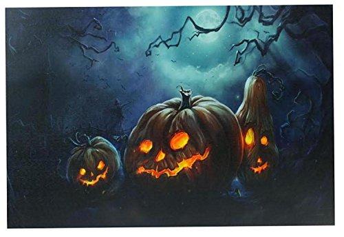 Northlight LED Lighted Spooky Halloween Jack-O-Lanterns Canvas Wall Art, 15.75