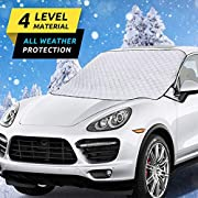 #LightningDeal HEHUI Car Windshield Snow Cover,Car Windshield Snow Ice Cover with 4 Layers Protection,Snow,Ice,UV,Frost Defense,Extra Large Windshield Winter Cover Fits Most Cars and SUV