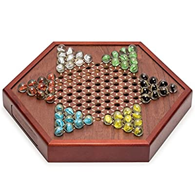 Yellow Mountain Imports 12.7-Inch Wooden Chinese Checkers Board Game Set with Drawers and Colorful Glass Marbles: Toys & Games