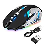 LED Laser Wireless Optical Gaming Mouse Rechargeable X7 High Resolution Mouse for Notebook, PC, Laptop, Computer, Macbook by Aoile(black)