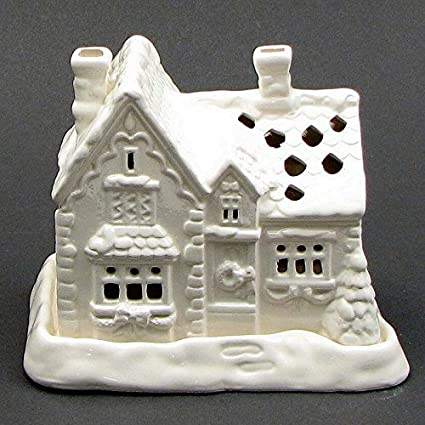 set of 3 white ceramic holiday christmas village house building 12 tea light candles