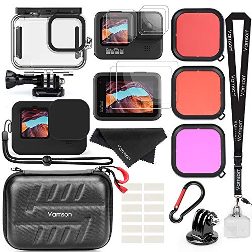 Vamson Accessories Kit for Gopro Hero 9 Black Waterproof Housing Case + 3 Lens Filters + Waterproof Carrying Case + Silicone Case + Tempered Glass Bundle for Go Pro 9 AVS16