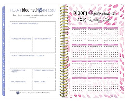 """bloom daily planners 2018 Calendar Year Daily Planner – Weekly and Monthly Datebook Organizer – January 2018 to December 2018 (6"""" x 8.25"""") - Peacock Feathers Photo #5"""