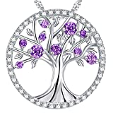 Christmas Birthday Gift The Tree of Life Pendant Necklace LC Amethyst Sterling Silver Jewelry Anniversary Gift for Her