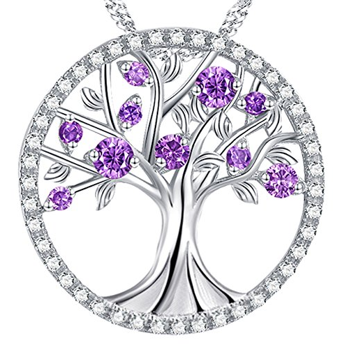 The Tree of Life Love Amethyst Necklace February Birthstone Pendant Sterling Silver Jewelry Anniversary Birthday Gift For Family Daughter (Jewelry Diamond Pendant Amethyst)
