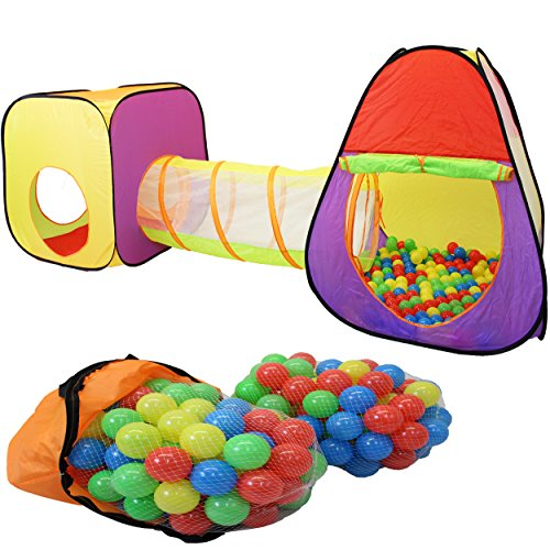 KIDUKU® 3-teiliges Kinderspielzelt + Krabbeltunnel + 200 Bälle + Tasche für drinnen und draußen