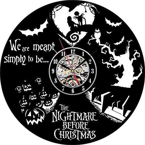 Meet Beauty Creative Vinyl Record Wall Clock Unique Nightmare Before Christmas Theme -Amazing Handmade Gift for Halloween and Children Nursery Kids' Room(30CM Black Circle)