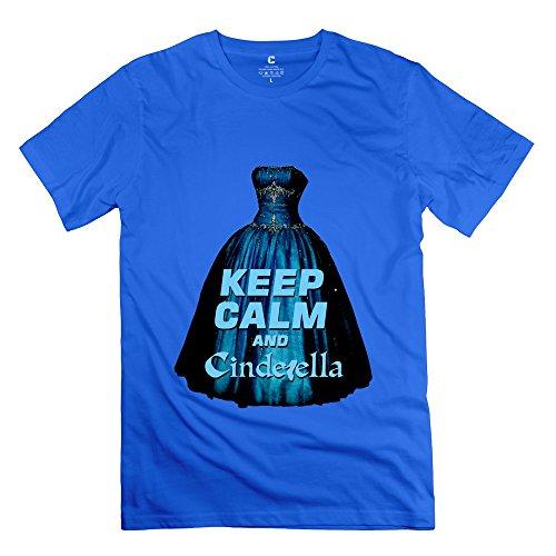 PCY Men's Printed Keep Calm Cinderella Casual T Shirts XXL RoyalBlue