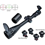 Eagle Eye Rifle Scopes 6-24x50 AO (30mm Tube) Red/Green Illuminated Turrets with Lock/Reset Hunting Mil Dot Riflescopes (Packed with 2 Kinds of Mounts)