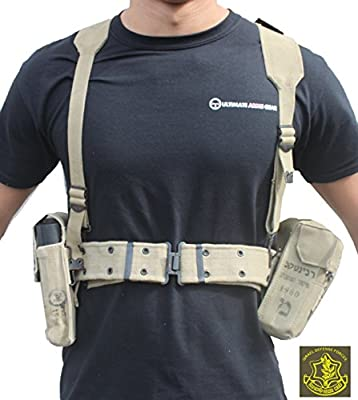 Ultimate Arms Gear Surplus Tzahal Zahal IDF Military Khaki Tan Canvas Vest Harness Personal Load Carrying System PLCS with Shoulder Suspension, Cushioned Waist Belt & Ammunition Pouches