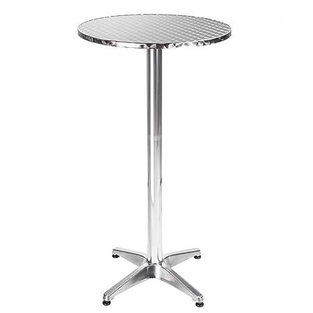 TecTake Mesa de bar bistró de aluminio altura ajustable 74 o 114 ...