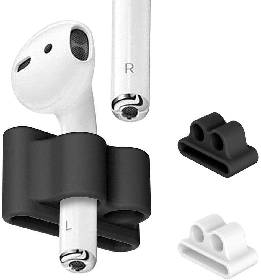 FINENIC【2 Pack】 Compatible for AirPod 1 / AirPod 2 / Airpods pro Holder , Portable Anti-Lost Silicone Compatible for Apple AirPod Watch Band Holder , Compatible for AirPod Accessories (Black +White)