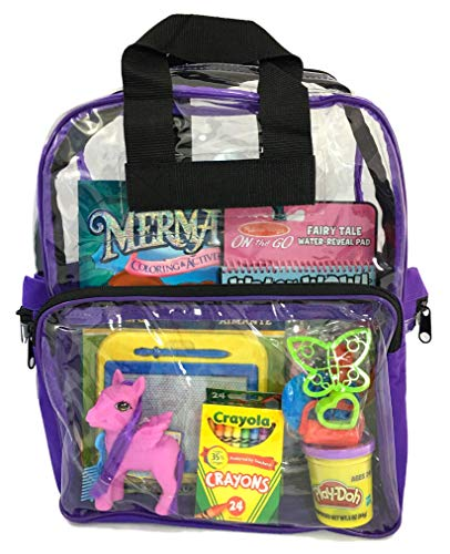 (Apex Travel Kids Pack - Activity Travel Bag for Boys and Girls - Clear Backpack - TSA Approved - Keeps your Toddler Busy and Quiet on the Airplane or in the Car (PURPLE))