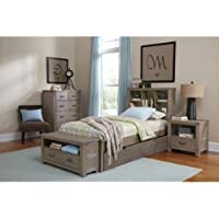 NE Kids Highlands Twin Bookcase Bed with Trundle in Driftwood