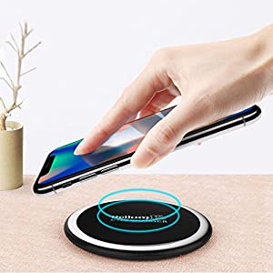 Wireless Charger For IPhone X - Qi-Enabled Devices (10 W) – Universal Fast Wireless Charging Station with Leather Cover iPhone 8/8 Plus, iPhone X, Samsung Galaxy Note 8/S8/Plus, S7/Edge & More
