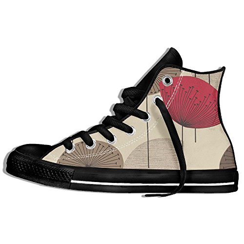 Classic High Top Sneakers Canvas Zapatos Antideslizante Art Umbrella Casual Walking Para Hombres Mujeres Negro