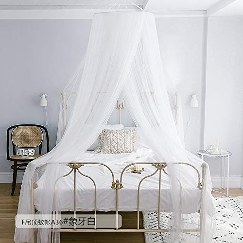 JQWUPUP Elegant Dome Bed Canopy for Twin to King Size Beds, Princess Play Tent Bed Curtain for Girl Women Kids Adult, Bedding Decor - Canopy Ivory Bed