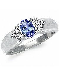 Genuine Tanzanite & White Topaz 925 Sterling Silver Engagement Ring