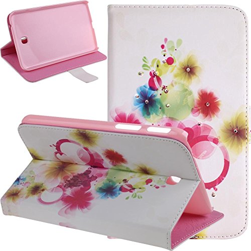 - Galaxy Tab 3 7.0 Case,Butterfly Fairy and Flower Inlaid Shiny Glitter Diamond Pu Leather Flip Protective Case Cover for Samsung Galaxy Tab 3 7.0 P3200/ P3210/ T210/ T211,Colorful Flowers