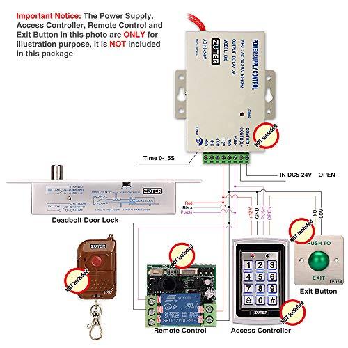 NO Mode DC 12V, ZOTER Deadbolt Strike Electric Drop Bolt Timer Door Lock  Fail-Secure