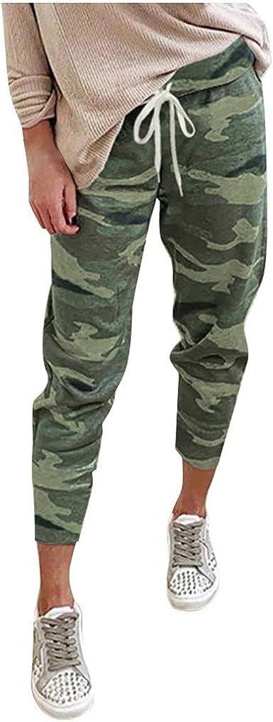 Women/'s Camouflage Sweatpants Drawstring Elastic Waist Ladies Camo Jogger Pants