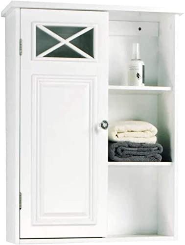 Extra Long Accent Cabinet for Bathroom and Living Room, Wall Mounted Single Door and Shelves White Modern 20,1 W x 25,1 Classic Storage Accent Cabinet E-Book