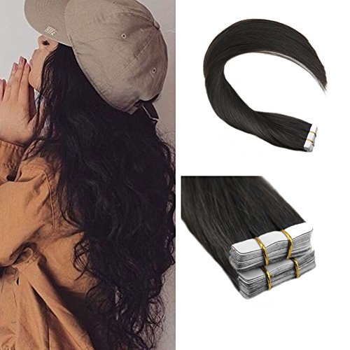 man Hair Extensions Double Weft 40Pcs 100g Thick End Full Head Adhesive Real Hair Tape in Extensions 100% Remy Natural Hair ()