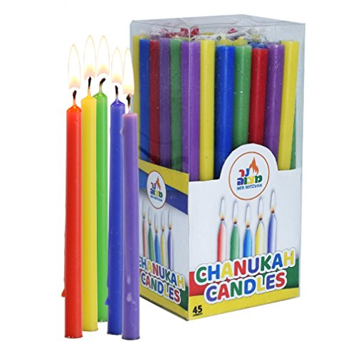 Colorful Long Chanukah Candles - Standard Size Diameter Fits Most Menorahs - Premium Quality Wax - Assorted Colors - 45 Count For All 8 Nights of Hanukkah - by Ner - Candle Assorted