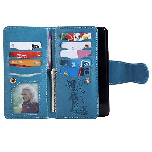 Funda Galaxy S9+, SsHhUu Etui Portefeuille en Cuir PU Véritable Funda Protection [Magnétique Stand] [9 Porte cartes] avec Stylet + Lanyard pour Samsung Galaxy S9+ / S9 Plus (6.2) Verde Azul