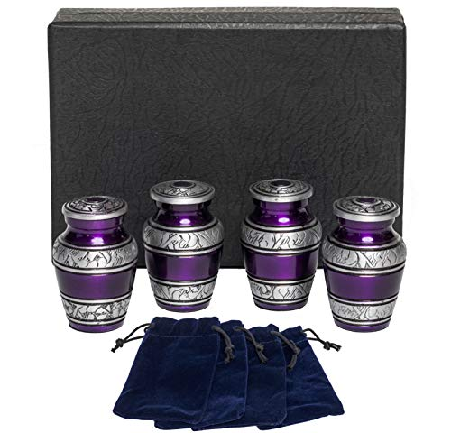 Eternal Harmony Keepsake Urns for Human Ashes 4 Cremation Urns Carefully Handcrafted with Elegant Finishes to Honor Your Loved One Each Small Urn Comes in a Beautiful Velvet Bag Purple