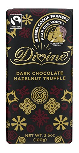 (Divine Chocolate Dark Chocolate with Hazelnut Truffle Bar, 3.5 Ounce)