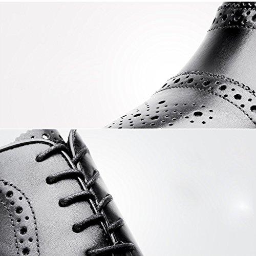 LEDLFIE Chaussures en Cuir pour Hommes Block Sculpté Business Dress Chaussures pour Hommes Black 7I2FnmE3