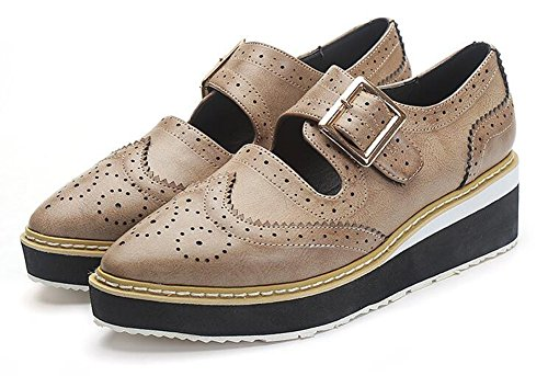 Easemax Moda Donna In Camoscio Solido Fibbia Punta A Punta Slip On Mid Top Tacco Zeppa Oxford Marrone