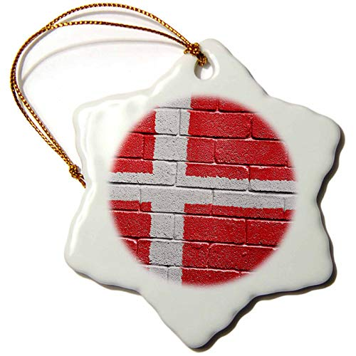 3dRose ORN_155216_1 National Flag of Denmark Painted onto a Brick Wall Danish Porcelain Snowflake Ornament, 3-Inch