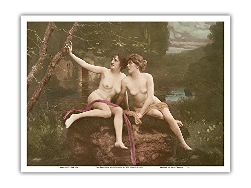 Two Beautiful Nude Women - Classic Vintage Hand-Colored Erotic Art - From a French Postcard by HSB Studio c.1910 - Master Art Print - 9in x - Women Nude Retro