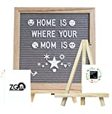 Grey Felt Letter Board with 678 Letters, Numbers, Emojis and Symbols,10X10 inches Changeable Oak Frame Message Board with Mount Hanger, Stand and Canvas Bags by ZG-Home(ZG1010P)