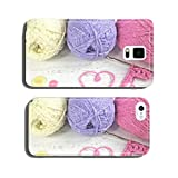 Yarn Wool pastel colours with crochet hook heart and buttons cell phone cover case Samsung S5