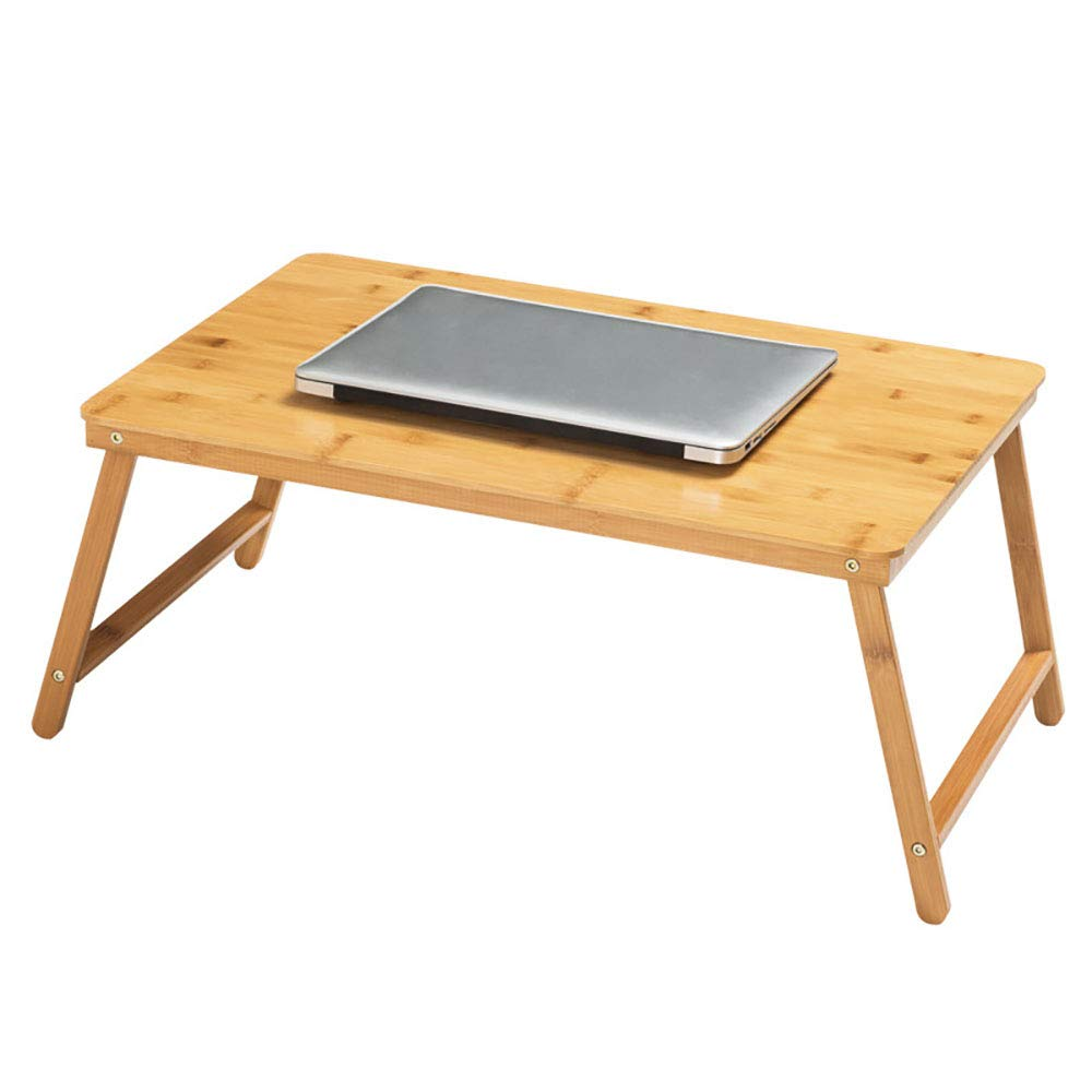 Gplveoq Bamboo Material Foldable Laptop Desk,Notebook Lap PC Folding Desk,Computer Desk Portable Table,with Vented Stand Bed Tray,Natural