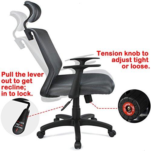 Padded Headrest Mesh Swivel Office Chair Recline Height Adju