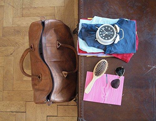 Vintage Design Weekender Tasche aus Leder. XXL große Reisetasche für Herren und Damen in braun
