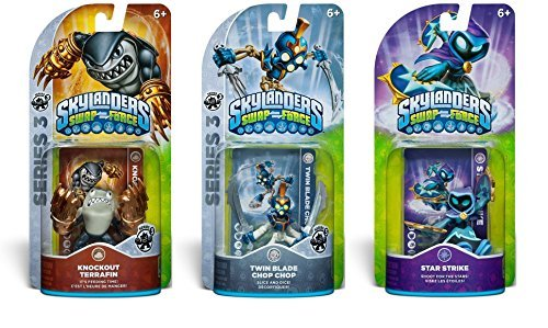 Skylander SWAP force 3-Pack: Knockout Terrafin, Twin Blade Chop Chop and Star Strike (SWAP-able) - Series 2 & 3 Action Figures -